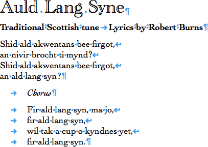 "Lyrics to ""Auld Lang Syne"" showing dots between words and symbols at the end of lines"