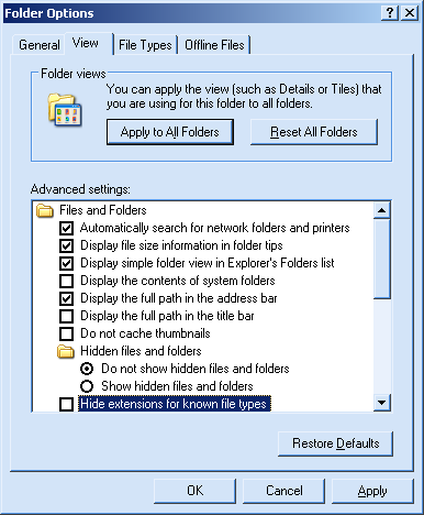 "Windows Explorer Folder Options dialog box, showing the ""Hide"