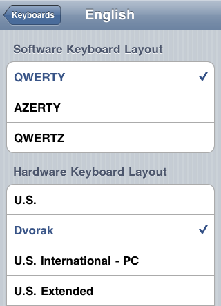 Table showing keyboard preferences, with checkmarks on the selected items.
