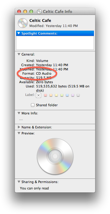 "Mac OS Device Info showing ""Format: CD Audio"" circled."