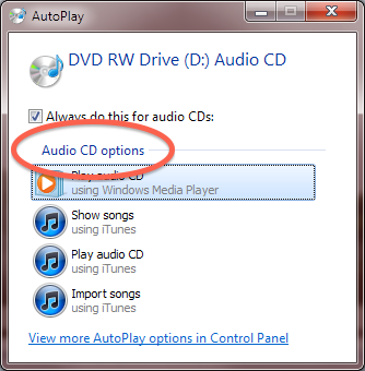 """Windows Autoplay dialog showing """"Audio files options"""" circled."""