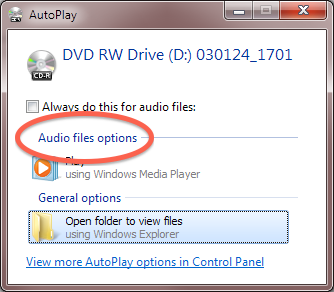 "Windows Autoplay dialog showing ""Audio files options"" circled."