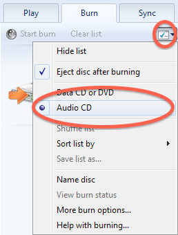 "Windows Media Player burn menu showing ""Audio CD"" circled"