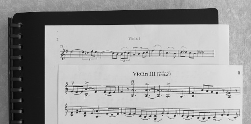 "Sheet music labelled ""Violin 3"" and ""Page 3"" without any other information."