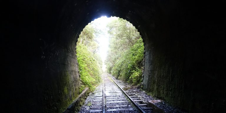 Photograph from inside of railway tunnel.