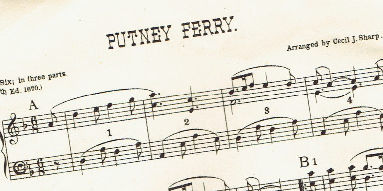 Sheet music scanned at an angle, in colour and low resolution.