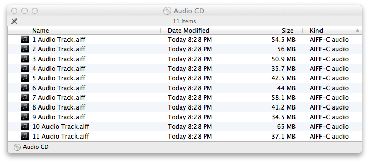"Mac OS Finder showing music CD contents, with filenames from ""1 Audio Track.aiff"" to ""11 Audio Track.aiff""."
