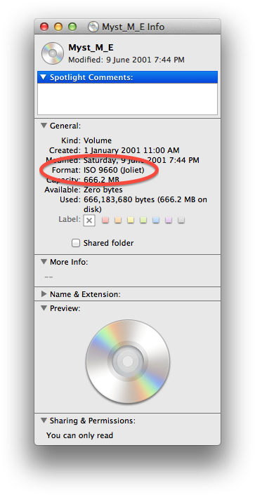 "Mac OS Device Info showing ""Format: ISO 9660 (Joliet)"" circled."