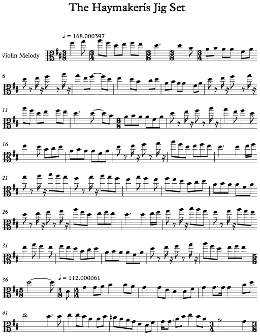 Sheet music showing no articulations and partial changes of key.