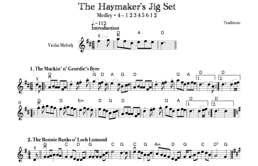 Sheet music showing articulations and partial bars.