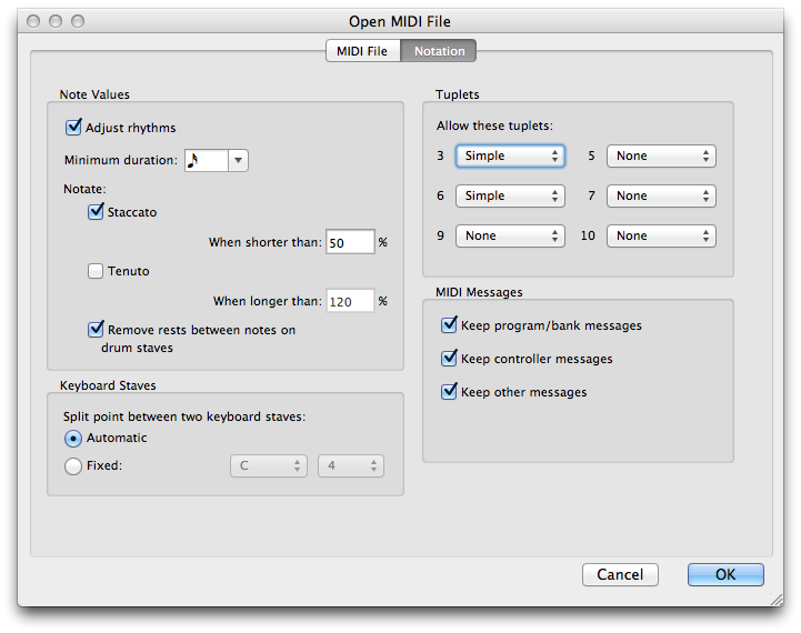 MIDI import settings for rhythms and tuplets