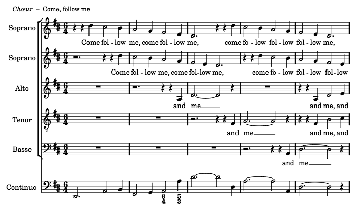 "Purcell's ""King Arthur"", typeset in LilyPond by Jean-Charles Malahieude in 2012, showing the first lines of ""Come, follow me"""