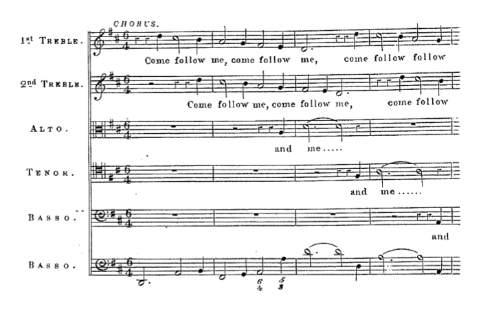 "Purcell's ""King Arthur"", edited by Edward Taylor and published in 1843, showing the first lines of ""Come, follow me"""