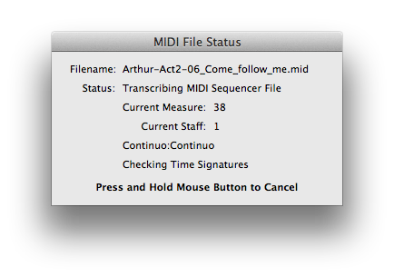 Finale NotePad 2012 imports a MIDI file.