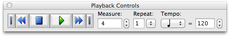 "Finale NotePad 2012 playback (accessed through ""Window"" > ""Playback Controls"")"