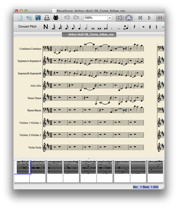"MuseScore 1.3 displaying the first page of ""Come, follow me"""