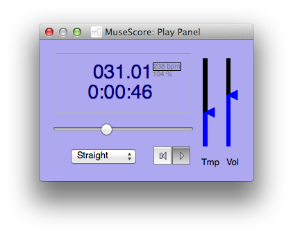 "MuseScore 1.3 playback (accessed through ""Display"" > ""Play Panel"")"