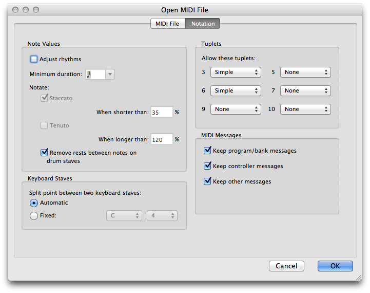 "Sibelius 7 MIDI import settings tab 2 (""Notation"") with ""Adjust rhythms"" unchecked"