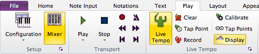 "Sibelius 7 toolbar with the ""Mixer"" button selected"