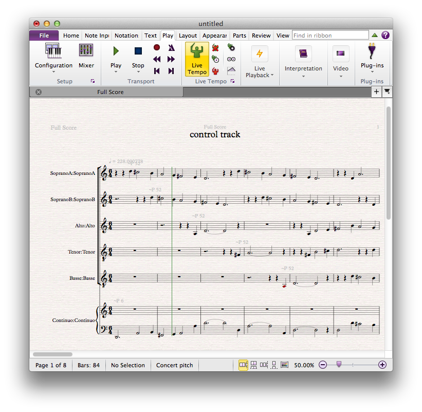"Sibelius 7 displaying the first page of ""Come, follow me"""