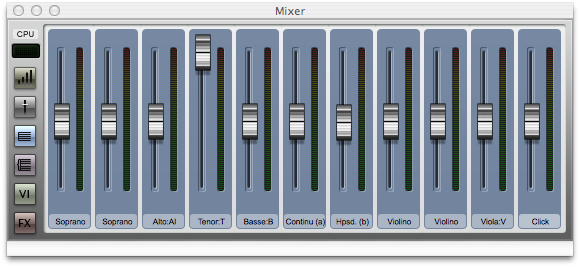 Sibelius 7 mixer with Tenor volume increased, all others decreased
