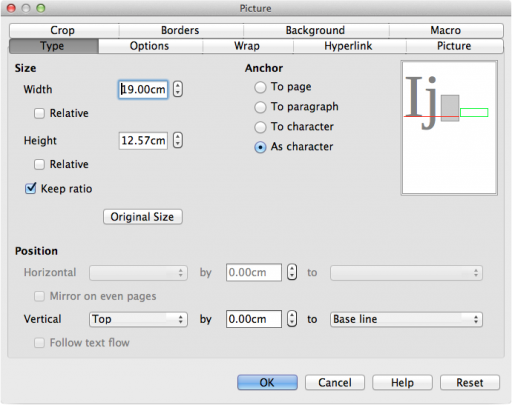 "LibreOffice ""Picture"" dialog with  ""Keep ratio"" checked, ""Width"" set to ""19.00cm"" and ""Anchor"" set to ""As character""."