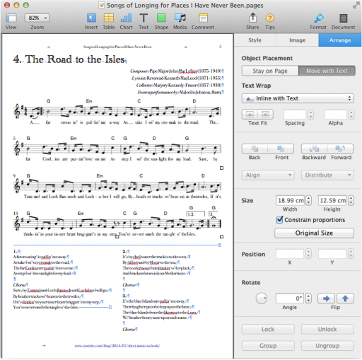 "iWork Pages with an image selected in the document, the ""Arrange"" tab selected, ""Text Wrap"" set to ""Inline with Text"", and width set to ""18.99 cm""."