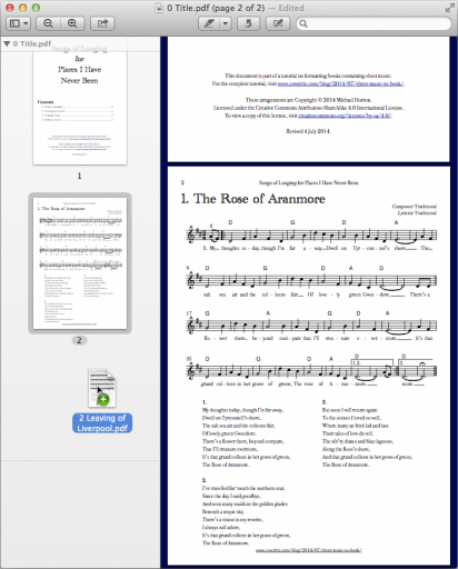 Mac OS Preview window showing a two-page PDF containing a title and one tune, with a second tune being dragged into it.