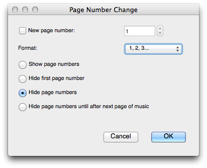 "Dialog box titled ""Page Number Change"" with the a radio button labelled ""Hide page numbers"" highlighted."