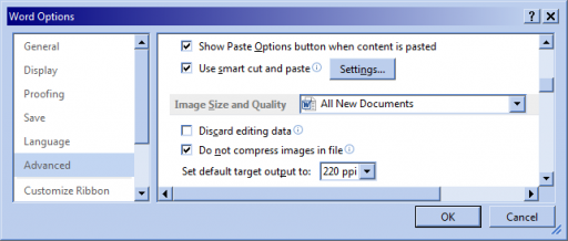 "Microsoft Word 2013 ""Word Options"" dialog with the ""Advanced"" list item selected, ""Image Size and Quality"" in view and set to ""All New Documents"", and ""Do not compress images in file"" checked."