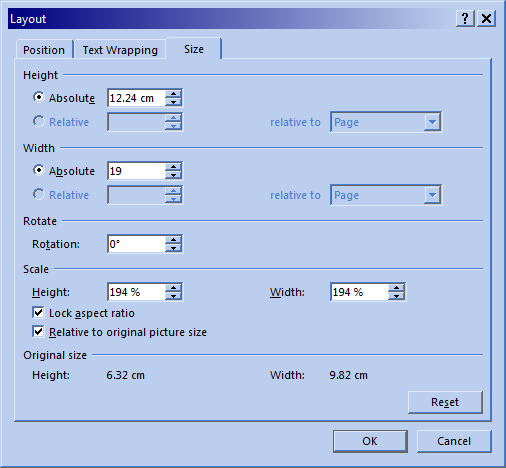 "Microsoft Word 2013 ""Layout"" dialog with ""Lock aspect ratio"" checked and ""Width"" set to ""Absolute"" 19cm."