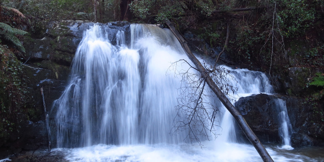 Short wide waterfall, showing streaks due to long exposure.