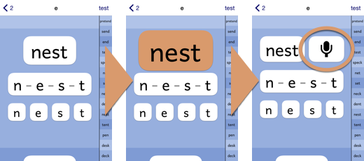 "PBPhonics screenshot sequence showing the word ""next"" being tapped to play it and make the microphone button appear."