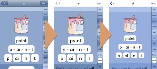 PBPhonics screenshots showing changing colours and layouts on the word screen.