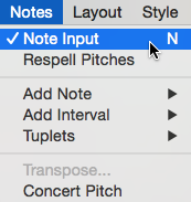 "Menu bar showing the ""Notes"" menu selected and the ""Note Input"" menu item within that highlighted and checked."