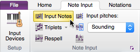 "Sibelius ribbon showing ""Note Input"" tab selected and ""Input Notes"" highlighted."