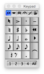 Screen capture of Sibelius keypad panel, showing notes from demisemiquaver to semibreve.