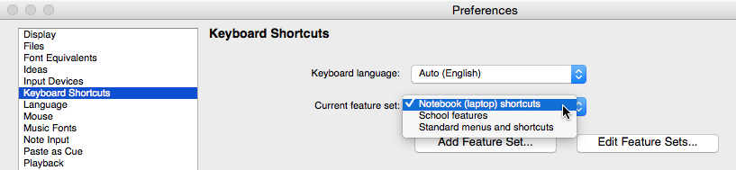 "Dialog box labelled ""Preferences"" with ""Keyboard Shortcuts"" selected in a list box, ""Keyboard language"" set to ""Auto (English)"" and ""Current feature set"" to ""Notebook (laptop) shortcuts""."