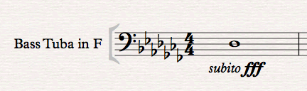 Sheet music for bass tuba in F, key of A flat minor, with a D flat semibreve to be played subito fortississimo.