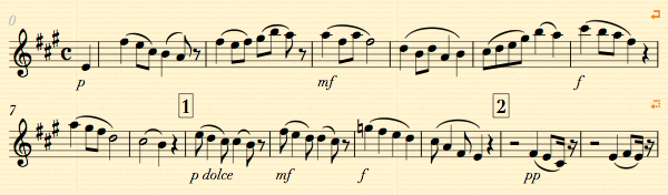Sheet music showing dynamic symbols in thin italics.