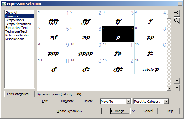"Screen capture of window titled ""Expression Selection"". There is a listbox on the left. The second item, ""Dynamics"", is selected. To the right of the listbox is a grid, with dynamics from ""f-f-f-f"" to ""p-p-p-p"". At the bottom is a series of buttons, ending in ""Assign"", ""Cancel"" and ""Help""."