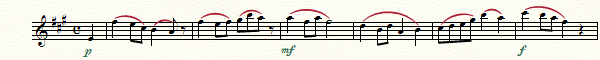 "Sheet music showing ""p,"" ""mf"" and ""f""."