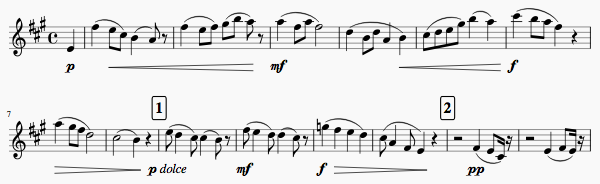 Sheet music showing dynamic letters, crescendos and diminuendos.