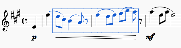 Screen capture showing sequence of notes outlined in a blue rectangle and a crescendo hairpin along the length of the selection.