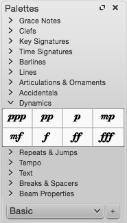 "Screen capture of ""Palettes"" showing ""Dynamics"" open and options for ""ppp,"" ""pp,"" ""p,"" ""mp,"" ""mf,"" ""f,"" ""ff"" and ""fff""."