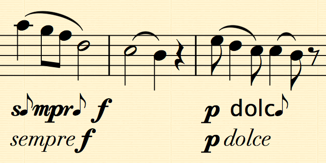 "Sheet music with ""sempre f"" and ""p dolce"" garbled with quavers (eighth notes) replacing the ""e"" and other letters in oddly shaped."
