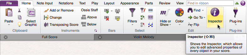 "Sibelius Ribbon showing the ""Home"" tab selected, with the mouse hovering over a section labelled ""Edit"" with a button labelled ""Inspector"", with a white ""i"" inside a purple circle. A tooltip indicates that the keyboard shortcut is shift-command-i."