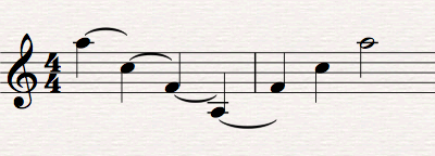 Descending and ascending notes with descending notes showing ties to nothing.