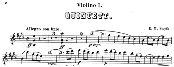 "Sheet music titled ""Quintett"" by E. M. Smyth, containing slurs and ties."