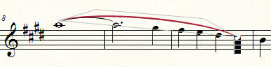 Sheet music showing a slur in red being dragged to a notehead, which is highlighted in black.